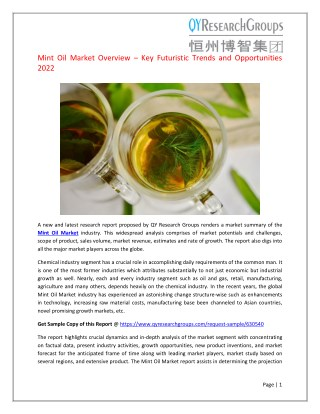 Global Mint Oil Market Research Report 2017