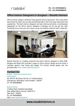 Office Interior Designers In Gurgaon – Resaiki Interiors