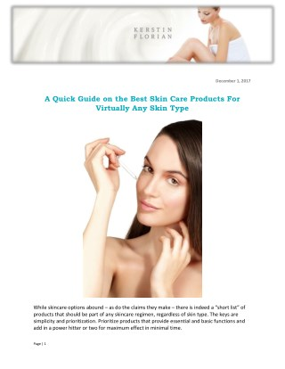 A Quick Guide on the Best Skin Care Products For Virtually Any Skin Type