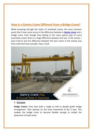 Lifting Mechanism of Gantry Crane