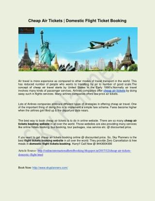 Cheap Air Tickets | Domestic Flight Ticket Booking