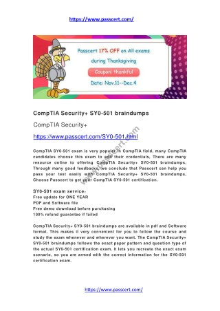 CompTIA Security  SY0-501 braindumps