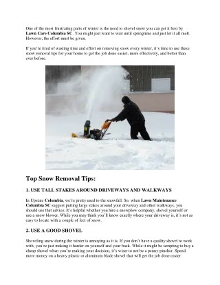 SNOW REMOVAL TIPS FOR YOUR HOME