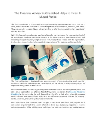 The Financial Advisor in Ghaziabad Helps to Invest In Mutual Funds