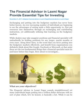 The Financial Advisor in Laxmi Nagar Provide Essential Tips for Investing