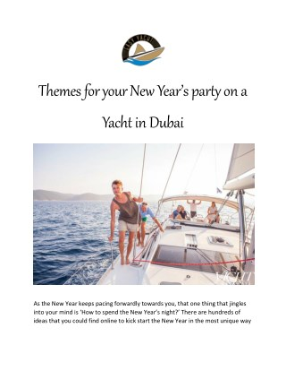 Themes for your New Year's party on a Yacht in Dubai - Easy Yacht