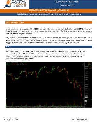 Capital Ways Weekly Equity Report 4th Dec 2017
