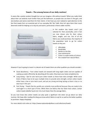 Towels � The unsung heroes of our daily routines!