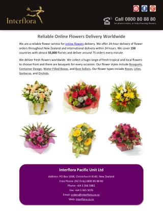 Reliable Online Flowers Delivery Worldwide