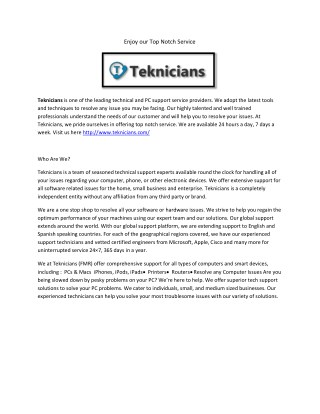 Teknicians - Tech Support Services