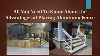 Know About the Advantages of Placing Aluminum Fence