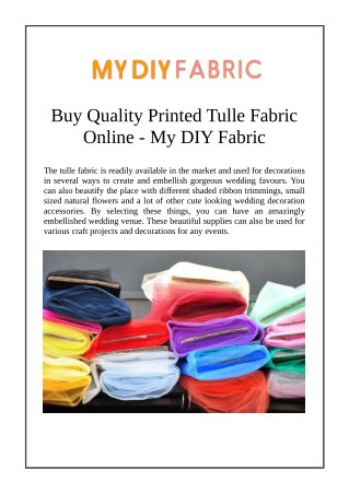 Buy Quality Printed Tulle Fabric Online - My DIY Fabric