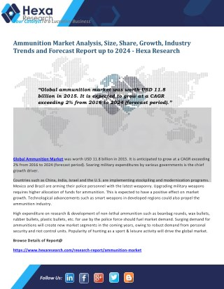 Ammunition Industry is Expected to Register Robust Growth till 2024  Ammunition Industry is anticipated to grow at a CA