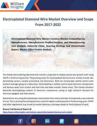 Electroplated Diamond Wire Industry Manufacturing Base Distribution, Sales and Product Type Forecast 2022