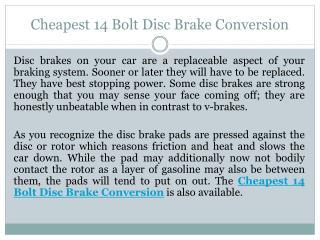 Cheapest 14 Bolt Disc Brake Conversion