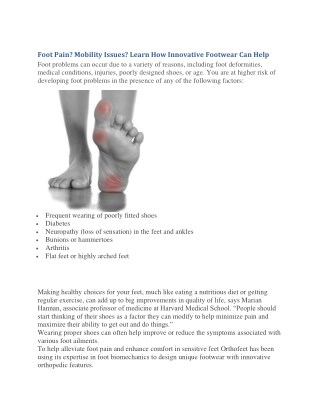 Foot Pain? Mobility Issues? Learn How Innovative Footwear Can Help