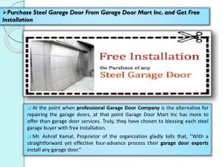 Purchase Steel Garage Door From Garage Door Mart Inc. and Get Free Installation