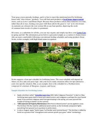 Schedule for Fertilizing Lawns