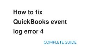 How to fix QuickBooks event log error 4