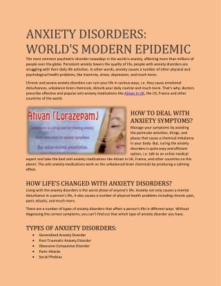 ANXIETY DISORDERS: WORLD'S MODERN EPIDEMIC
