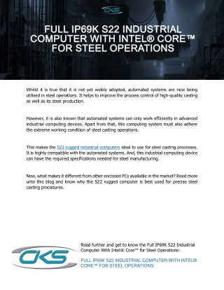 Full IP69K S22 Industrial Computer With Intel® Core™ for Steel Operations