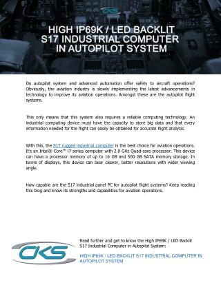High IP69K / LED Backlit S17 Industrial Computer in Autopilot System