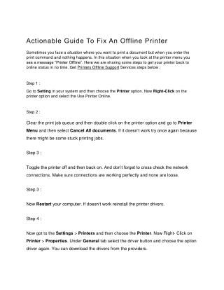 Actionable guide to fix an offline printer