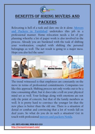 Benefits of Hiring Movers and Packers