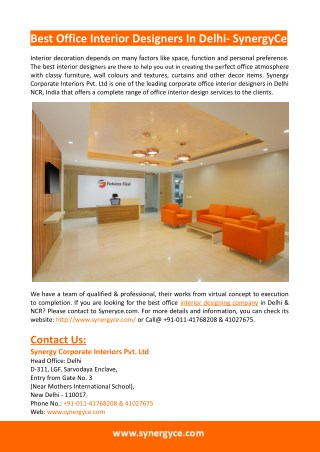 Office Interior Design- Synergy Corporate Interiors