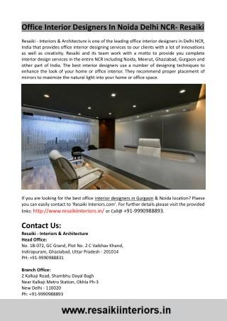 Office Interior Designers In Gurgaon- Best Interior Designers In Delhi
