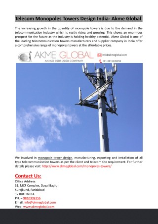 Telecom Monopoles Towers Design India- Akme Global