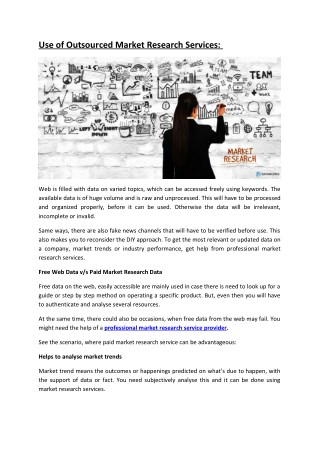 Use of Outsourced Market Research Services