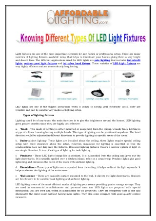 Knowing Different Types Of LED Light Fixtures