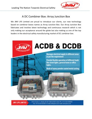 A DC Combiner Box Array Junction Box