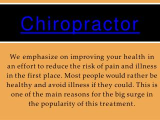 Chiropractic Care for Cervical pain treatment