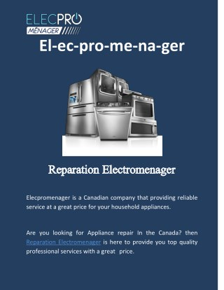Reparation electromenager | Appliance repair