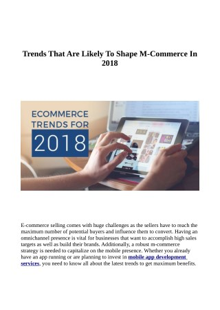 Trends That Are Likely To Shape M-Commerce In 2018
