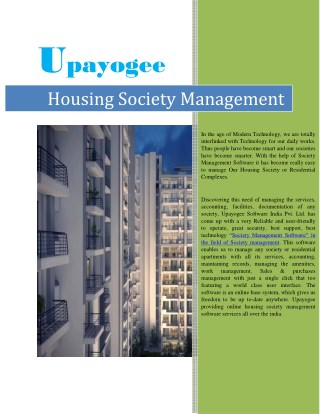 Solution on Housing Society Management - Society Software