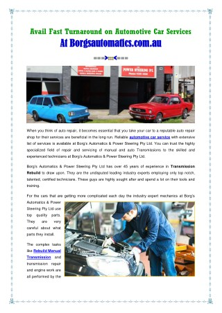 Automotive Car Services At Borgs Automatics