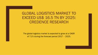 Global Logistics Market To Exceed US$ 16.5 TN By 2025: Credence Research