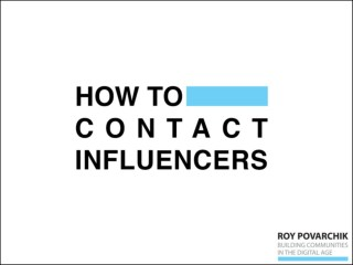 How To Contact Influencers