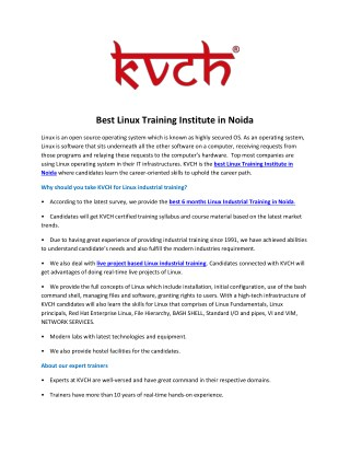 Best Linux industrial Training Institute for Six Month Training- KVCH