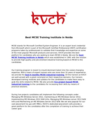 Best MCSE Industrial Training Institute for Six Month Training- KVCH