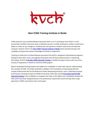 Best CCNA Industrial Training Institute for Six Month Training- KVCH