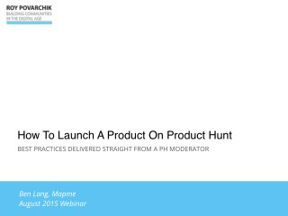 How To Launch A Product On Product Hunt