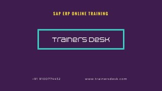 Best SAP ERP Online Training Institute in USA, UK and India - trainersdesk.com
