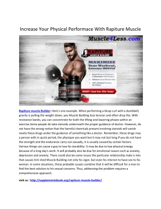 Rapiture muscle Builder : Improve your stamina