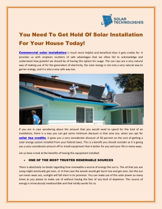 You Need To Get Hold Of Solar Installation For Your House Today! - Solar Technologies