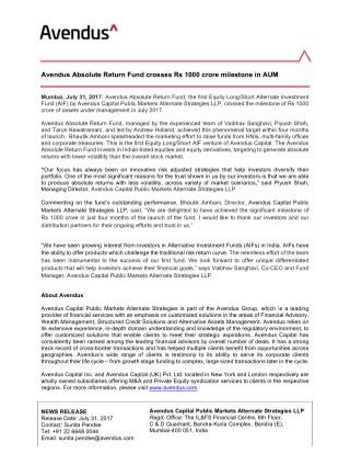 Avendus Absolute Return Fund crosses Rs 1000 crore milestone in AUM