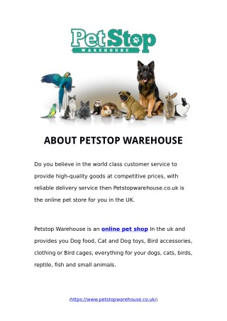 Online Pet Shop | Petstop Warehouses